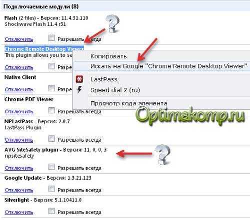 модули Google Chrome